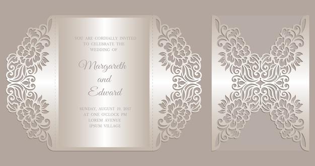 Floral laser cut gate fold invitation template.