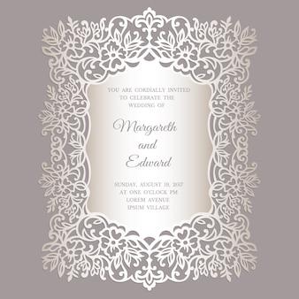 Floral laser cut wedding invitation card template. ornate border frame design.