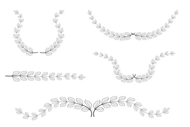 花、月桂樹の花輪のボーダー、あなたのデザイン要素のために、白で隔離