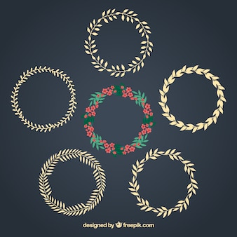 Floral and laurel wreaths