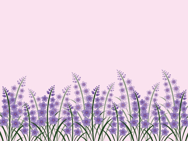 Floral lavender flower greeting card template background