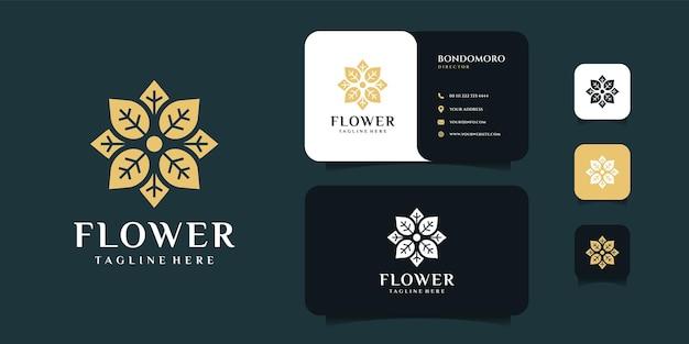 花の葉の花のロゴと名刺のデザインテンプレート。
