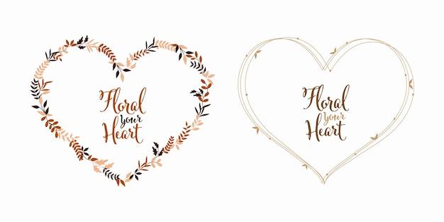 Floral leaf heart shape love and nature in vintage color