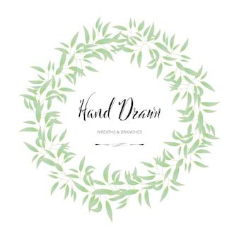 Floral and leaf round frame. hand drawn decoration flower wedding.