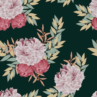 Floral and leaf seamless pattern