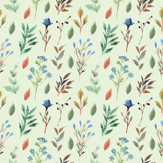 Floral and leaf watercolor seamless pattern