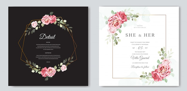 Floral and leaves invitation card template