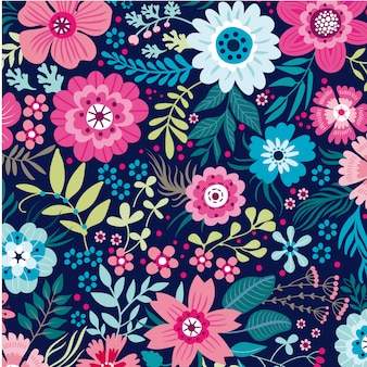 Floral leaves seamless pattern background vector template