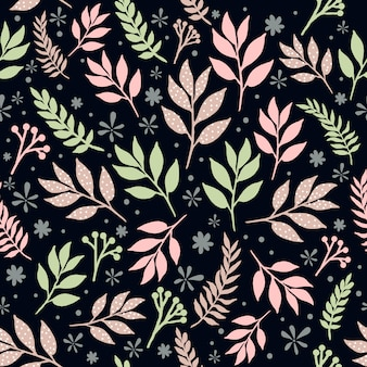 Floral leaves seamless pattern