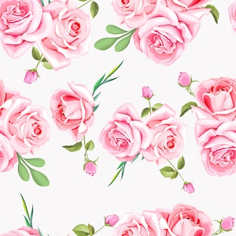 Floral and leaves seamless pattern