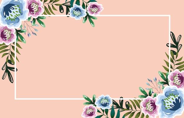 花の葉水彩バナーテンプレート