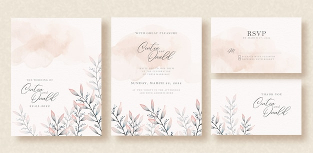 Floral leaves watercolor on wedding invitation