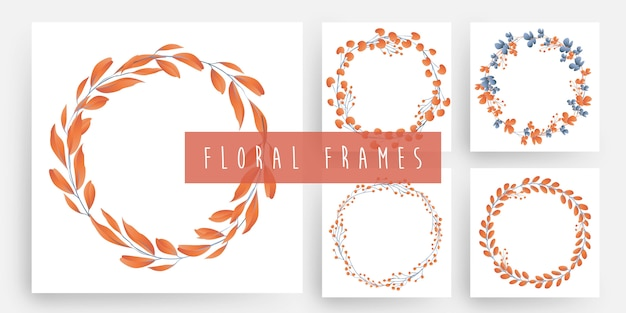 Floral and leaves wreath frames set