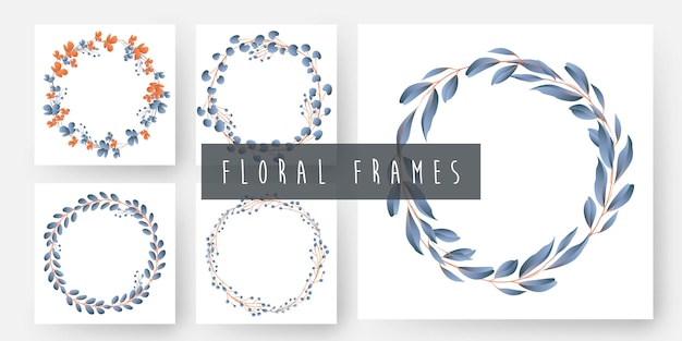 Floral and leaves wreath frames