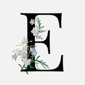 Floral letter e