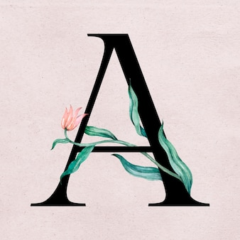 Tipografia romantica con carattere floreale a lettera