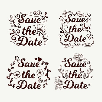 Floral lettering with save the date wedding text