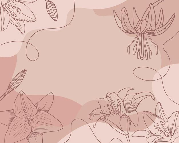 Цветочный фон лилии. рисованный стиль, шаблон