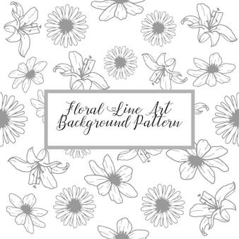 花のラインアートの背景パターン