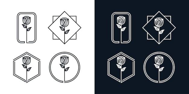 花のラインアートのロゴセット