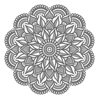 Floral line art ornamental mandala illustration for abstract and decorative concept