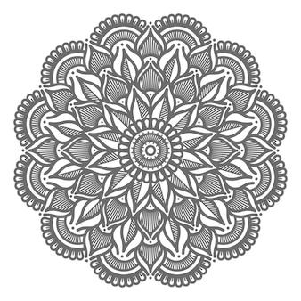抽象的で装飾的な概念のための花の線画装飾曼荼羅イラスト