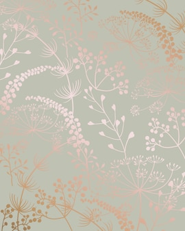 Floral line art seamless pattern with leaves shapes
