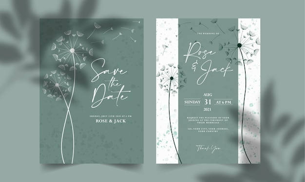 Floral line art wedding invitation card template set save the date card template
