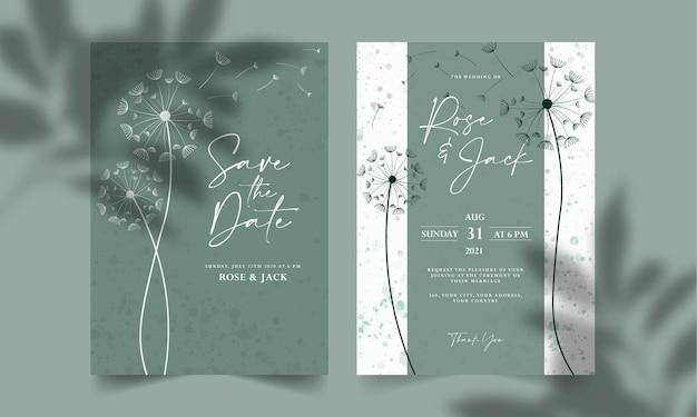 花の線画の結婚式の招待カードのテンプレートセット日付カードのテンプレートを保存します