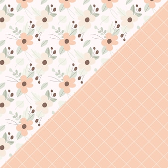 Floral and line seamless pattern