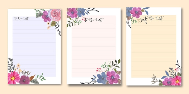 Floral to do list template set bundle