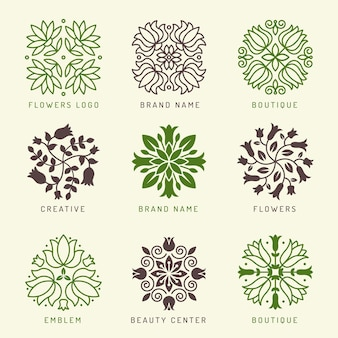Floral logo. botanical stylized elements decoration symbols leaves and flowers branches shapes wellness spa cosmetic vector logotype