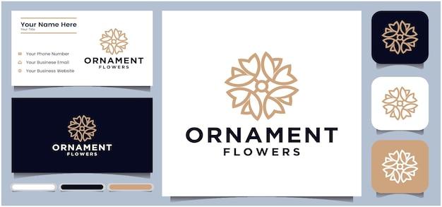 요가 또는 스파 살롱에 대 한 꽃 로고 디자인 서식 파일 원형 추상 꽃 로고 디자인