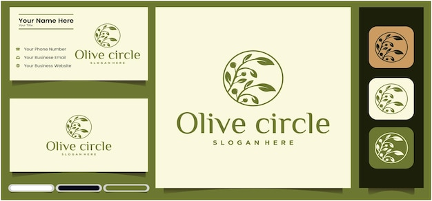 Floral logo design template circle abstract flower logo design for yoga or spa salon