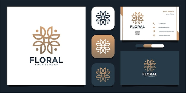 Floral logo design with line art and business card design