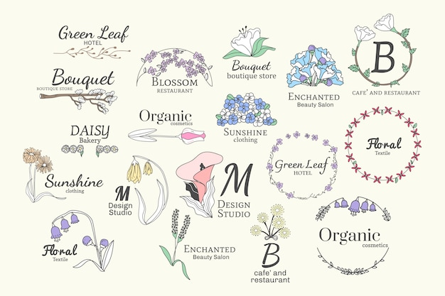 Floral logo designs set