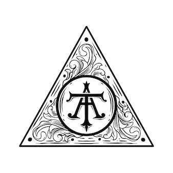 Floral logo frame black and white  premium
