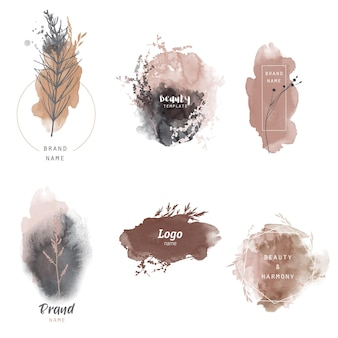 Floral logo template. watercolor vector seasons herb and plants