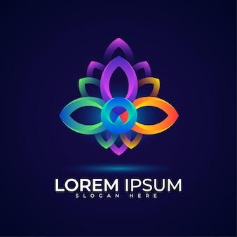 Цветочный логотип с современными и роскошными градиентными цветами
