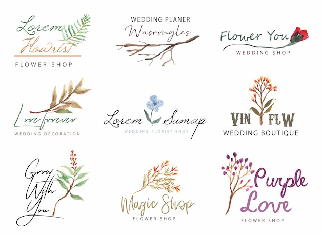 Floral logo with watercolor collection