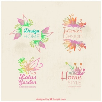 Floral logos in watercolor style