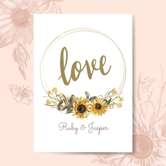 Floral love card mockup vector
