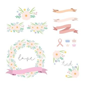 Elementi di amore floreale collecti