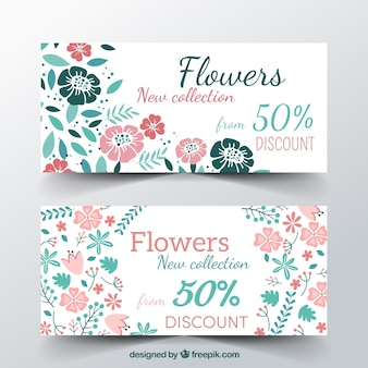 Floral loyalty card template with flat design
