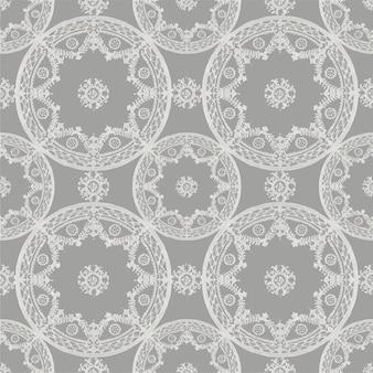 Noritake 공장 중국 도자기 식기 디자인에서 리믹스된 회색의 꽃 만다라 패턴 배경 벡터