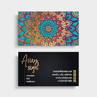 Floral mandala style business card