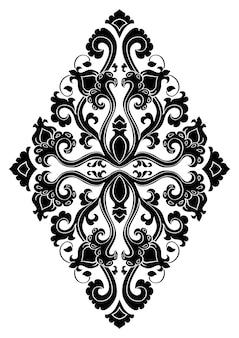 デザインのための花のメダリオン。カーペット、壁紙、テキスタイル、その他の表面のテンプレート。白い背景の上の黒い飾りのベクトルパターン。