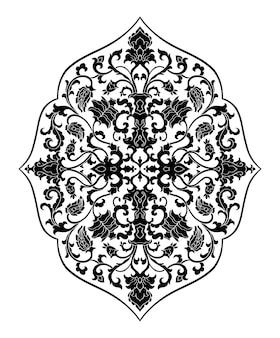 デザインのための花のメダリオン白い背景の上のベクトルの黒い飾り