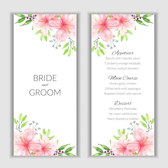 Floral menu card with watercolor pink hibiscus decoration