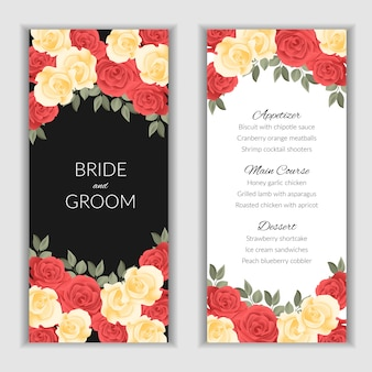 Floral menu template for wedding party